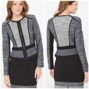 White House Black Market Cut Out Zip Tweed Jacket